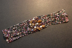 Bracelet - 12-Strand Red and Black Beads with Fresh Water Pearls