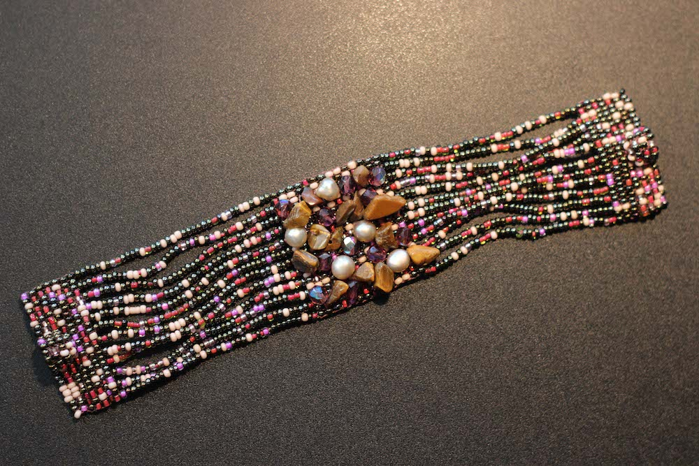 Bracelet – 12-Strand Red and Black Beads with Fresh Water Pearls