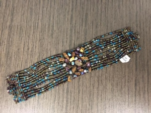 Bracelet - Brown and Blue Beads with Stones