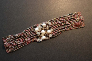 Bracelet – Pink and Brown Beads with Fresh Water Pearls