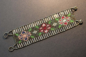 Bracelet - Brown and Silver Beaded Weaving