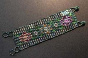 Bracelet - Green and Silver Beaded Weaving