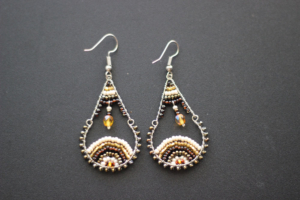 Earrings - Austrian Crystal Gold and Brown