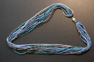 Necklace - 12-Strands with Blue and Brown Beads