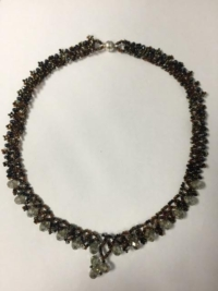 Necklace - Austrian Crystal Black and Brown