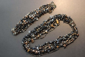 Necklace and Bracelet Set - Black and Gold Beads with Stones